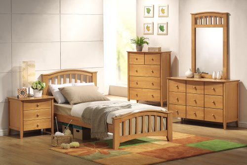 Image of YOUTH KIDS BEDROOM FULL SIZE MAPLE FINISH SAN MARINO 5 PIECE SET (B008W1FYPK)