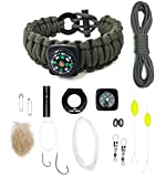 The Ultimate Paracord Survival Kit Bracelet by LAST MAN Survival Gear (Army Green With Compass)