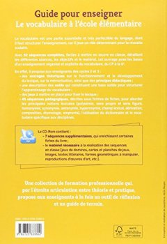 Livres Couvertures de Guide pour enseigner le vocabulaire à l'école élémentaire + CD-Rom