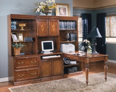 Picture of Comfortable Glen Eagle Brown Cherry Hardwood Computer Wall Unit with Desk Glen Eagle Brown Cherry Collection (B002A10T6C) (Computer Desks)