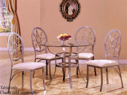 Image of Dining Table with Glass Top Silver Finish (VF_AM8175)