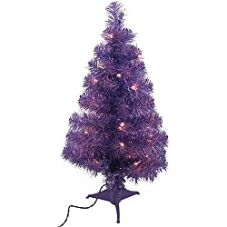 Mini Purple Tinsel Artificial Table Christmas Tree with Lights 2'