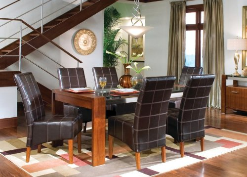 Image of Summit 7 Piece Dining Table Set with Glass Top (table & 6 chairs) - Coaster Co. (VF_AZ00-45731x30638)