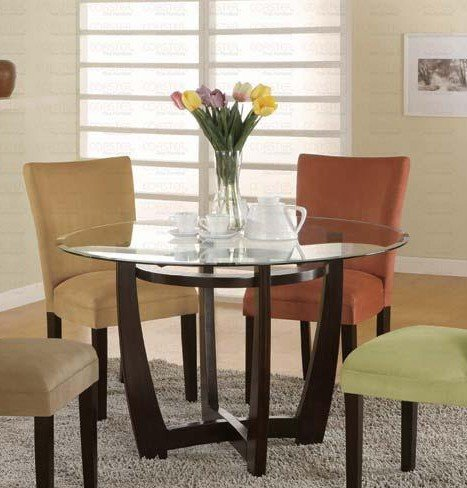 Image of Round Dining Table with Glass Top Cappuccino Finish (VF_101490-CB48RD)