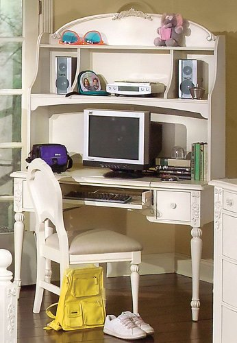 Picture of Comfortable Vanity Computer Desk w/ Hutch by American Woodcrafters - Soft Parchment With Fly-Specking (10300-343R) (B004ZLGJUA) (Computer Desks)
