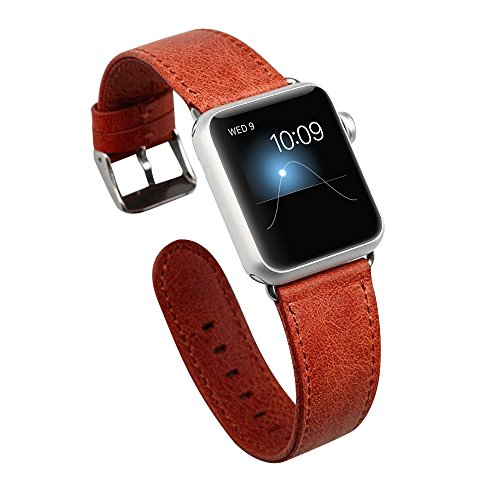 Apple-Watch-BandJisoncase-Genuine-Leather-Strap-Wristband-With-Free-Adapters-for-Apple-Watch-Sport-Edition-38mm-iWatch-Replacement-Band-with-Metal-Clasp-in-Red-JS-AW3-05A30