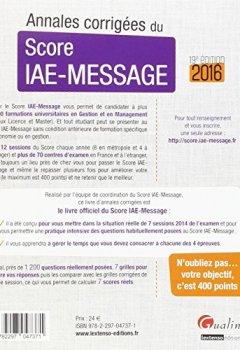 Livres Couvertures de Annales corrigées du score IAE-MESSAGE