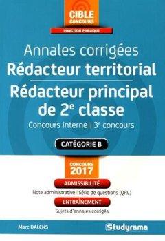 Livres Couvertures de Annales corrigées rédacteur territorial/Rédacteur principal de 2e classe : Concours interne et 3e voie