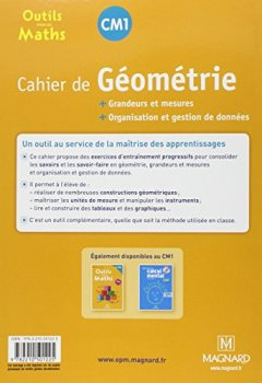 Livres Couvertures de Cahier de géometrie CM1 : Grandeurs et mesures, organisation et gestion de données