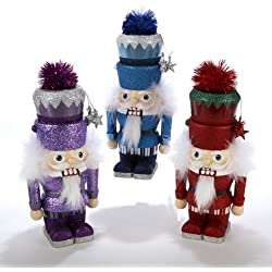 Set of 3 Hollywood Blue, Red and Purple Glittered Christmas Nutcrackers 9""