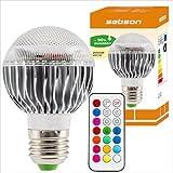 SEBSON® E27 RGB LED 9W mit Fernbedienung 2 Millionen Farben, 120 Helligkeitsstufen, Remote)