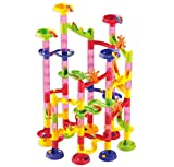 Marble Run Coaster 105 Piece Set with 75 Building Blocks+30 Plastic Race Marbles. Learning Railway Construction. TEVELO® DIY Constructing Maze Toy for All Family. Classic Endless Track Design Fun Kit.