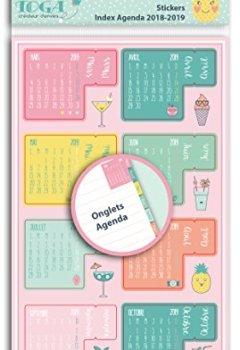 Livres Couvertures de Toga  Autocollant Onglets Agenda 2018 2019, Autre, Multicolore, 10 x 19 x 0.1 cm STR105