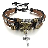 INBLUE Men,Women's Alloy Genuine Leather Bracelet Bangle Rope Cross Surfer Wrap Tribal Adjustable Fit 7~9 inch