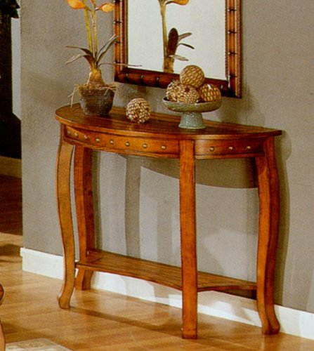Image of Traditional Golden Oak Finish Console Sofa Table w/Nail Head Trim (VF_F6030)