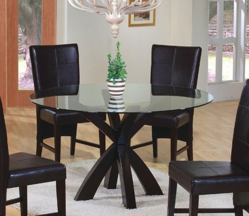 Image of Dining Table with Round Glass Top in Rich Cappuccino - Coaster (VF_AZ00-45755x29150)
