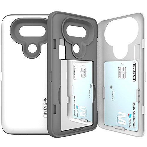 LG-G5-Case-G5-Card-Case-SKINU-USB-type-C-Dual-Layer-Card-Slot-Drop-Protection-Wallet-with-Mirror-and-Adapter-For-LG-G5-White