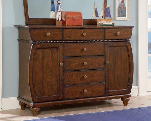 Image of Kids 7 Drawer Dresser with Rope Design Trim in Antique Honey Brown Oak Finish (AZ00-46896x19226)