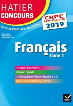Livres Couvertures de Hatier Concours CRPE 2019 - Français tome 1 - Epreuve écrite d'admissibilité