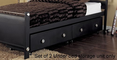 Image of Set of 2 Kids Under Bed Storage Drawers in Textured Black Finish - Z-Bedroom Collection (AZ00-46880x21231)