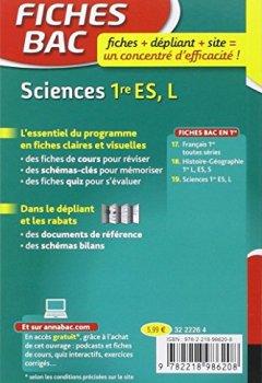 Livres Couvertures de Fiches bac Sciences 1re ES, L: fiches de révision - Première ES, L
