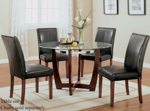 Image of Round Dining Table with Glass Top Cherry Finish (VF_AM7815)