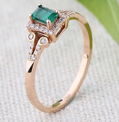 Emerald & Diamonds in Rose Gold | Dreamy Emerald Engagement Rings Under $1000