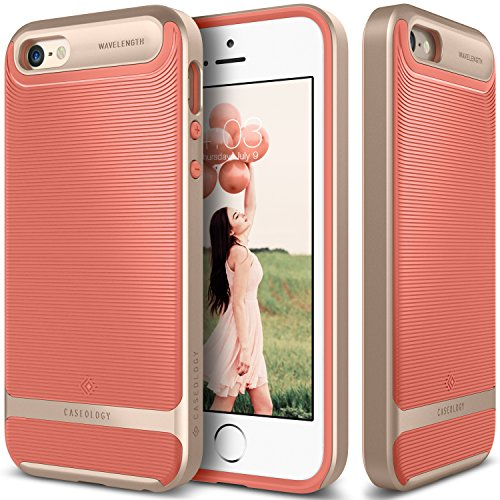 iPhone-SE-Case-Caseology-Wavelength-Series-Textured-Pattern-Grip-Cover-Coral-Pink-Shock-Proof-for-Apple-iPhone-SE-2016-iPhone-5S-5-2013-Coral-Pink