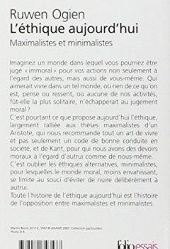 Livres Couvertures de L'éthique aujourd'hui: Maximalistes et minimalistes