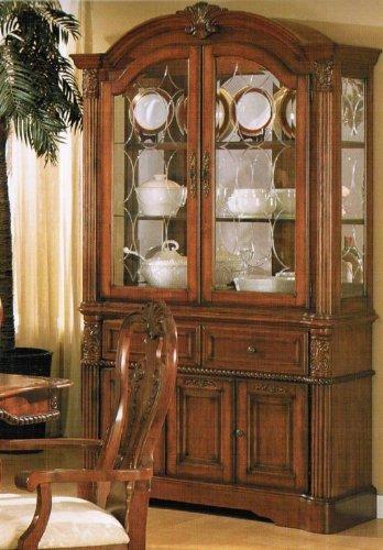 Image of China Cabinet Buffet Hutch - Queen Anne Style Dark Walnut (VF_F6073)