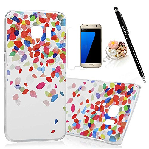 S7-Edge-CaseSamsung-Galaxy-S7-Edge-Case-BADALink-Ultra-thin-Slim-Fit-Colorful-Print-Pattern-Protective-Hard-PC-Cover-with-High-Definition-Screen-Protector-Dust-Plug-Stylus-Pen-Colorful-Leaves