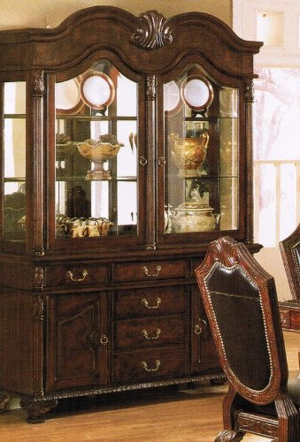 Image of China Cabinet Buffet Hutch Brown Finish (VF_AZ00-39462x21559)