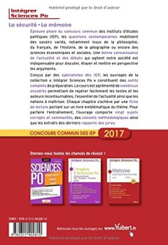 Livres Couvertures de La sécurité, la mémoire - Concours commun des IEP 2017 - Tout pour réussir l'épreuve de questions contemporaines