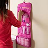 【Aitaka】 便利! 吊り下げ トラベル ポーチ 旅行 に 最適 洗面 用具 化粧 (ピンク)