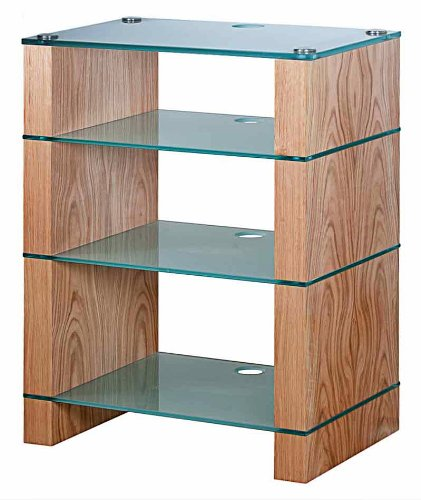 Image of BLOK STAX DeLuxe 400 Four Shelf Oak Hifi Audio Stand & AV TV Furniture Rack Unit (B003AKE04Y)