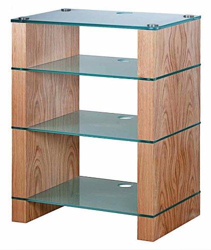 Image of BLOK STAX DeLuxe 400 Four Shelf Oak Hifi Audio Stand & AV TV Furniture Rack Unit (B003AKE04Y)