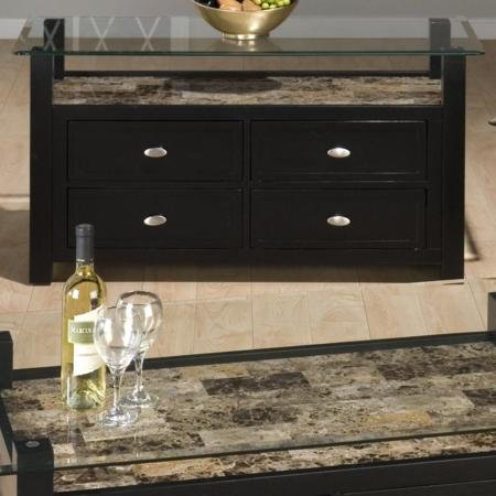 Image of Jofran Marble Techmetric TV Stand / Sofa Table in Basic Black (961-10G-961-10B)