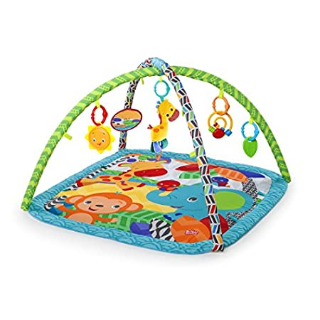 The zippy zoo activity gym from bright starts encourages baby to walk on the wild side. A soft, plush mat features a detachable giraffe plush toy with 4 fun melodies and a baby safe mirror. The colorful spiral bead chaser, leaf shaped teether, and su...