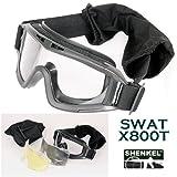 SHENKEL製 X800ゴーグル■警察SWAT軍隊 X800タイプ■レンズ3枚付き