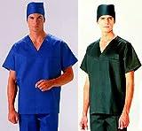 白衣 スクラブ 手術衣 オペ着 半袖 アプロン 137 M-5L 医療 綿100%  L 61:ブルー