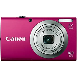 Canon PowerShot A2300 IS 16.0 MP Digital Camera with 5x Digital Image Stabilized Zoom 28mm Wide-Angle Lens with 720p HD Video Recording (Red)