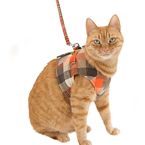 iCat アイキャット クッションベスト猫用ハーネス チェック オレンジ L