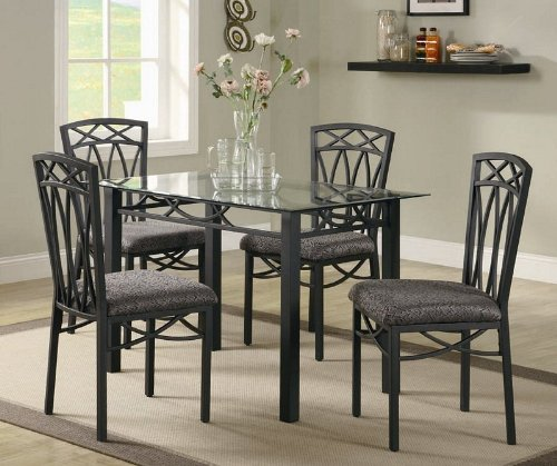 Image of 5pc Dining Table and Chairs Set with Glass Top in Black Finish (VF_DINSET-120781-120782)