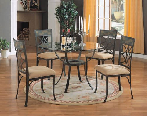 Image of 5pc Antique Metal Finish Round Dining Table w/Glass Top & Chairs Set (VF_dinset-7687-7688)