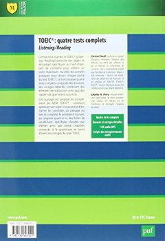 Livres Couvertures de TOEIC : quatre tests complets
