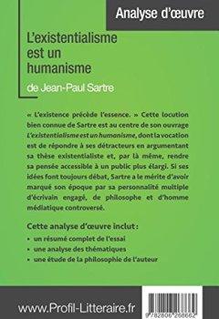 Livres Couvertures de L'existentialisme est un humanisme de Jean-Paul Sartre (Analyse approfondie): Approfondissez votre lecture des romans classiques et modernes avec Profil-Litteraire.fr