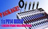 PACKAGE Peavey PV14USB 14-Channels Mixing Recording Console with USB and DSP Effects + 4 Wired Micorphones