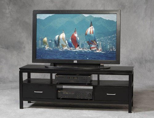 Image of Linon Sutton Flat Panel/Plasma/LCD TV Stand in Black Finish (84026BLK-01-KD-U)