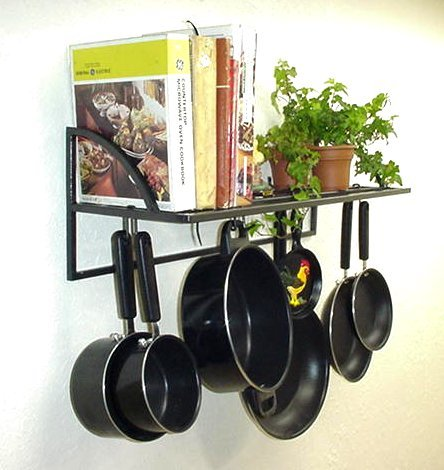 Image of Wall Bookshelf Pot Pan & Cookware Rack curved ends USA (wbs)