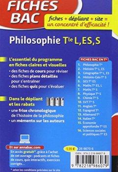 Livres Couvertures de Fiches bac Philosophie Tle L, ES, S: fiches de révision - Terminale séries générales